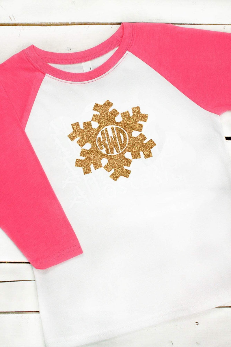 Snowflake Monogram Youth 3/4 Sleeve Raglan *Choose Your Colors (Wholesale Pricing N/A)