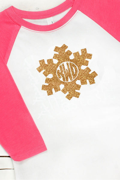 Snowflake Monogram Youth 3/4 Sleeve Raglan #NL3352 *Choose Your Colors (Wholesale Pricing N/A) (PLEASE ALLOW 3-5 BUSINESS DAYS. EXPEDITED SHIPPING N/A)