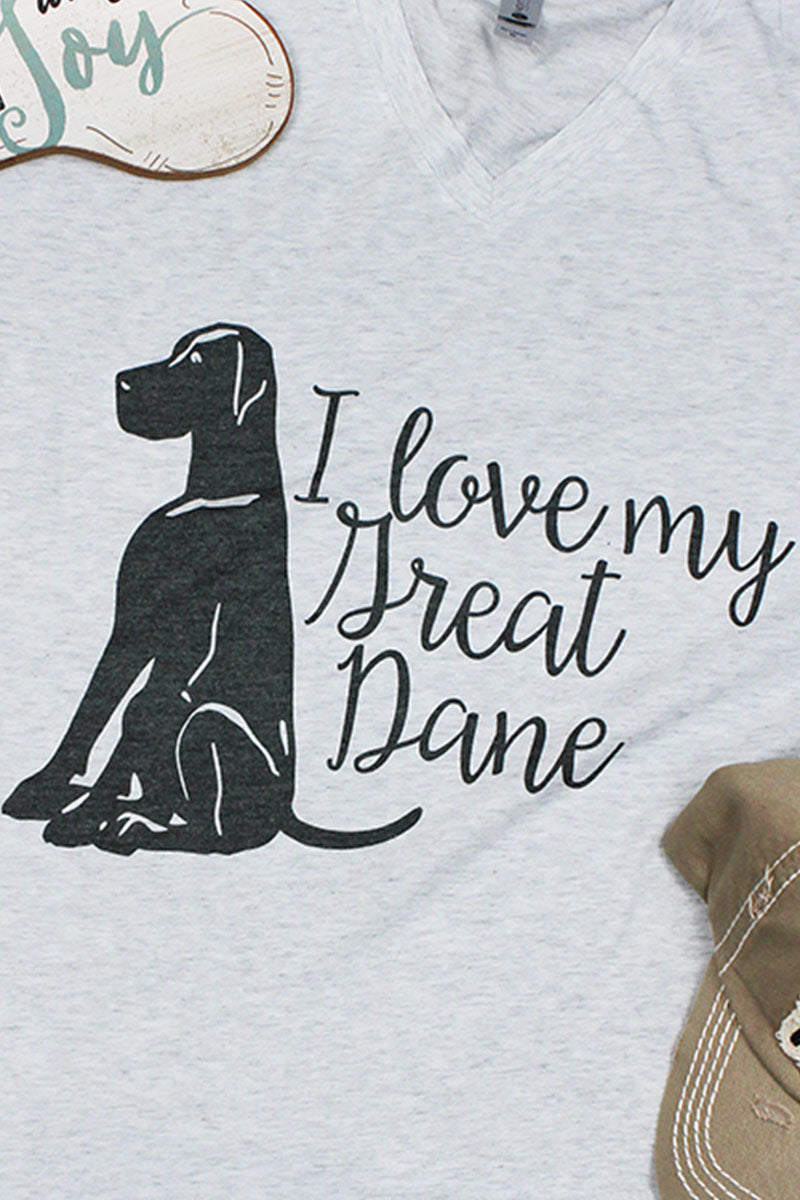 I Love My Great Dane Tri-Blend V Neck Tee