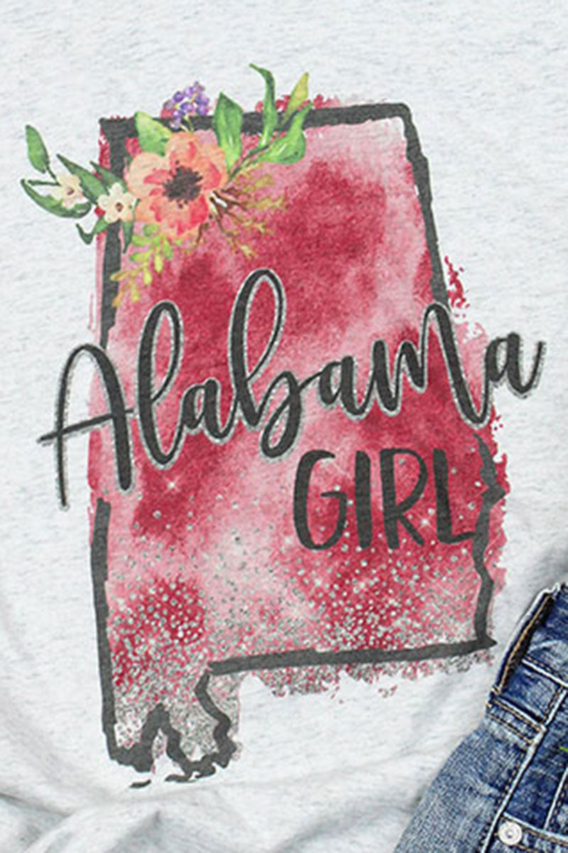 Watercolor Alabama Girl Tri-Blend V Neck Tee
