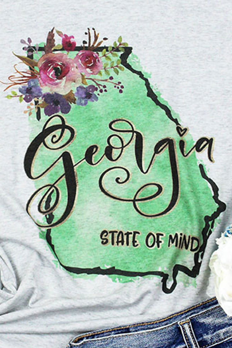 Watercolor Georgia Girl Tri-Blend V Neck Tee