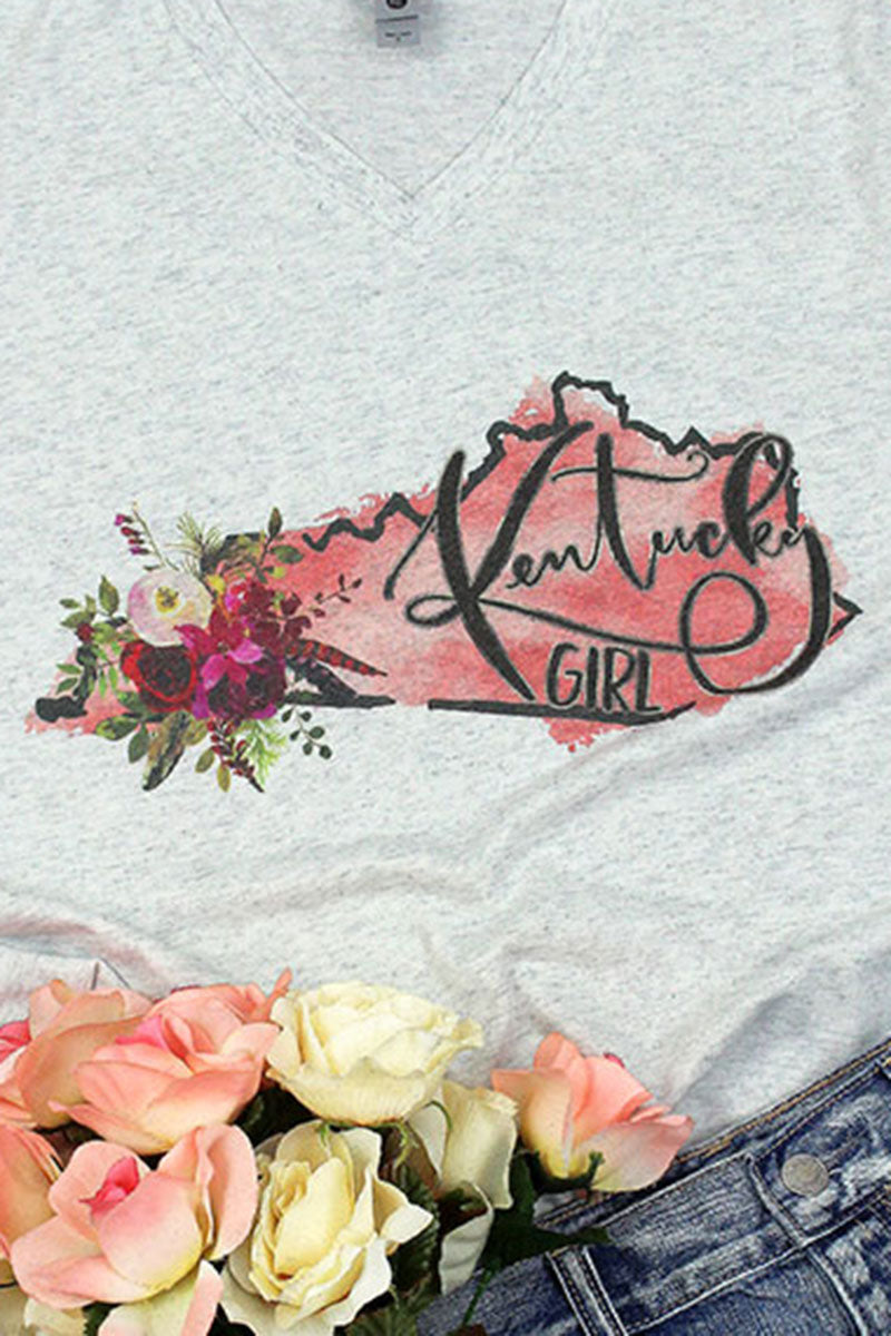 Watercolor Kentucky Girl Tri-Blend V Neck Tee