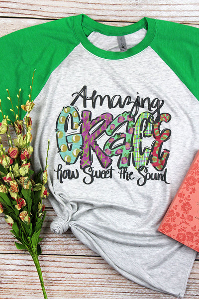 Amazing Grace Watercolor Tri-Blend Unisex 3/4 Raglan