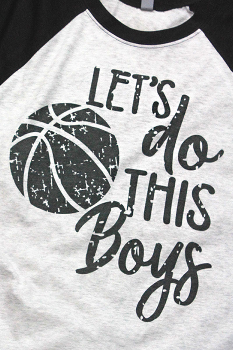 Basketball Let's Do This Boys Tri-Blend Unisex 3/4 Raglan