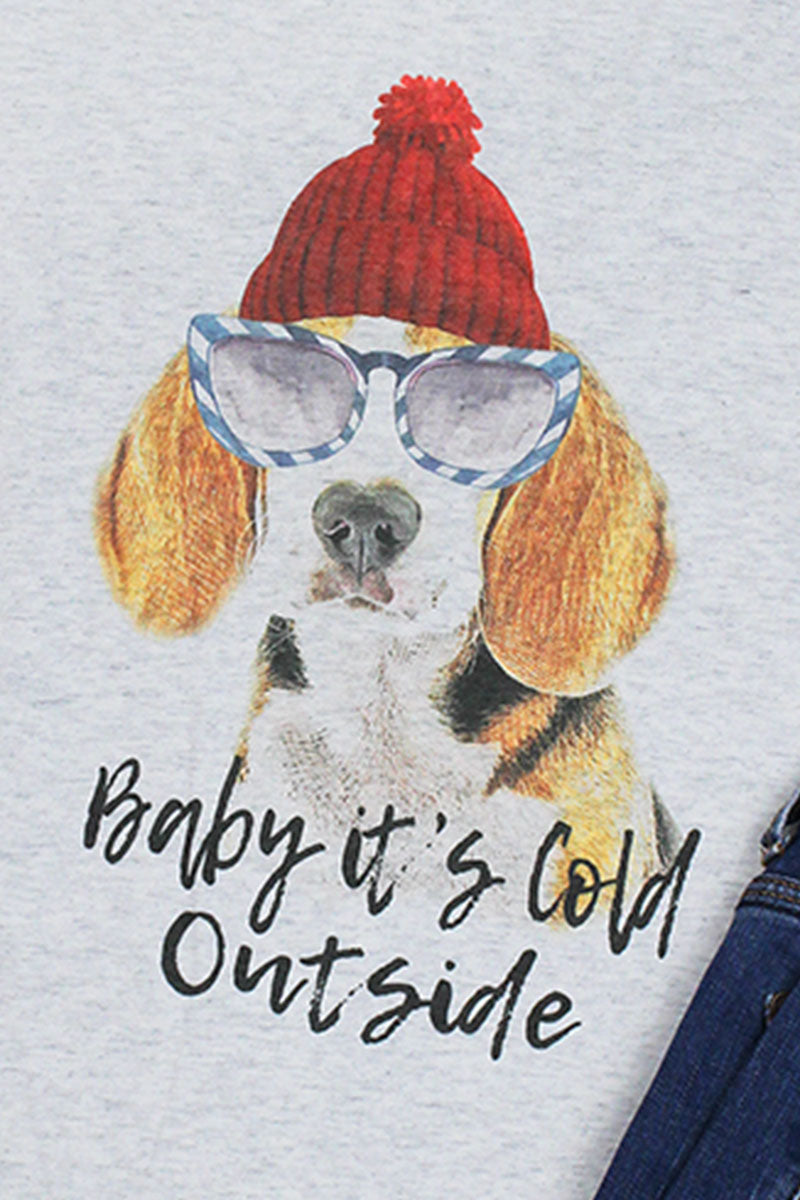 Beagle Baby It's Cold Outside Tri-Blend Unisex 3/4 Raglan
