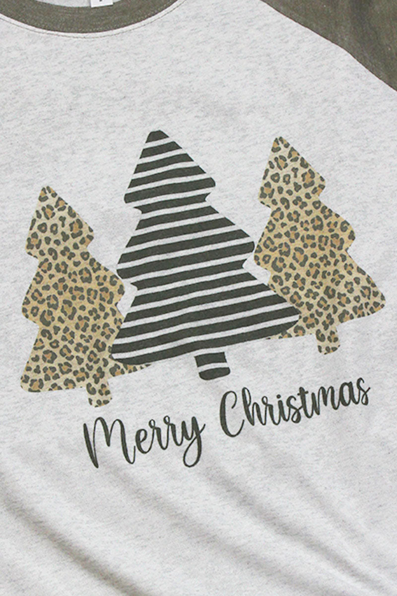 Merry Christmas Leopard Tree Trio Tri-Blend Unisex 3/4 Raglan