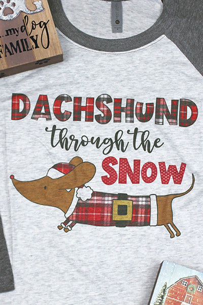 Dachshund Through The Snow Tri-Blend Unisex 3/4 Raglan