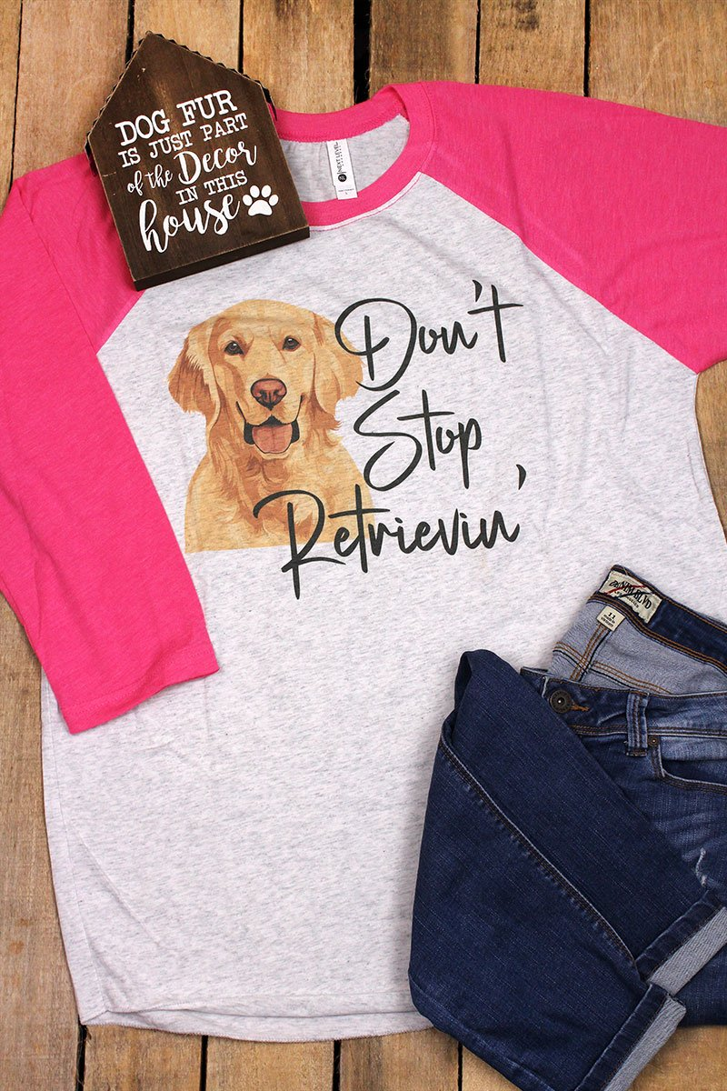 Yellow Lab Don't Stop Retrievin' Tri-Blend Unisex 3/4 Raglan
