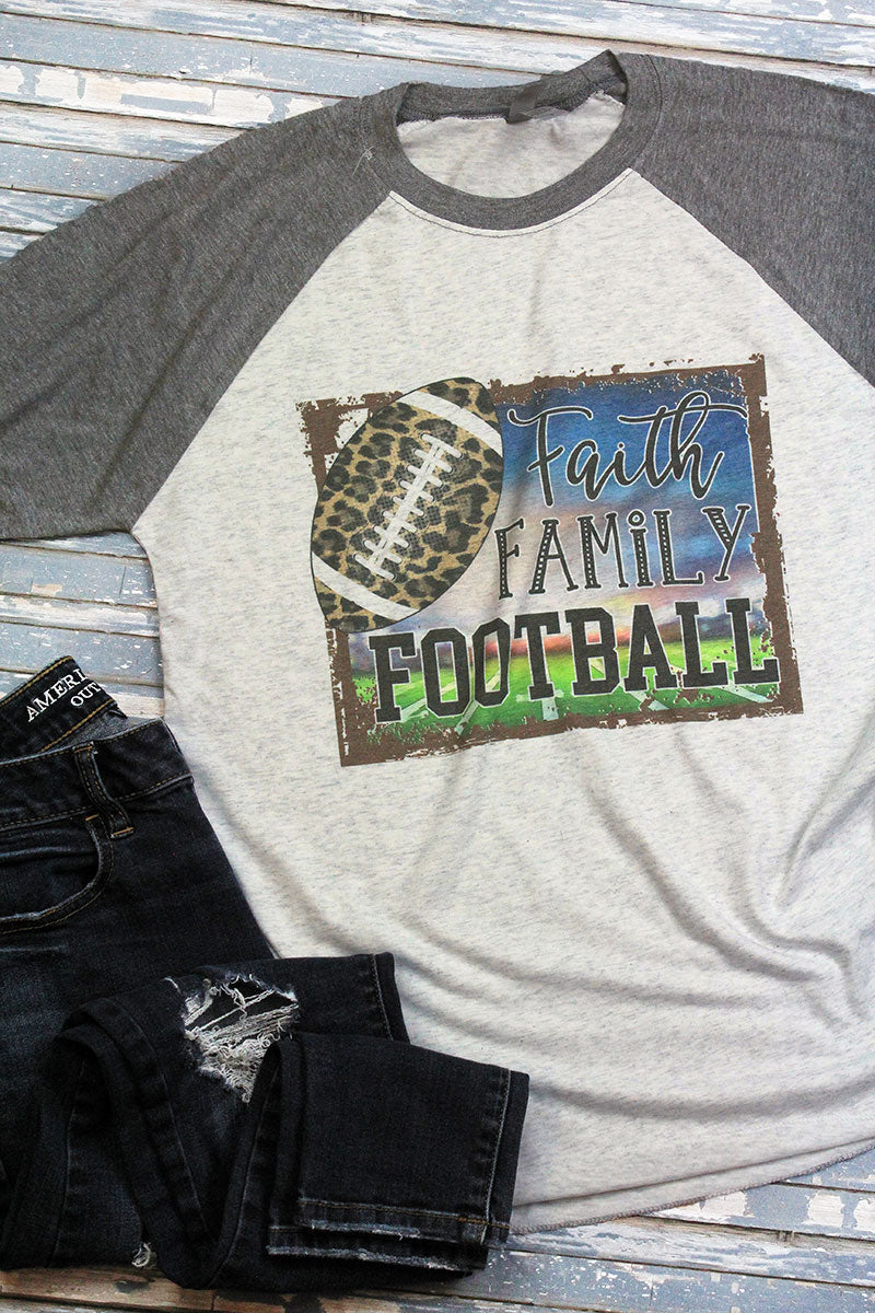 Faith Family Football Leopard Tri-Blend Unisex 3/4 Raglan