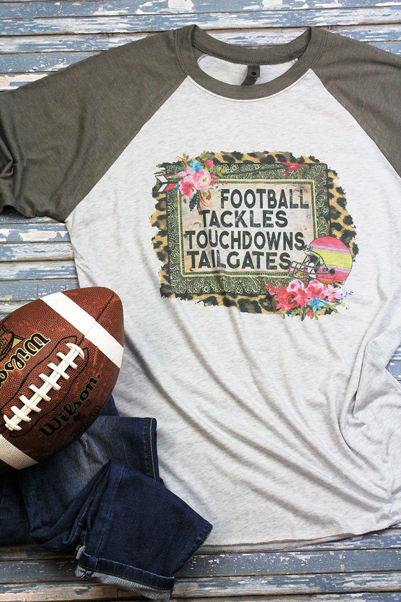Football Tackles Touchdowns Tailgates Tri-Blend Unisex 3/4 Raglan