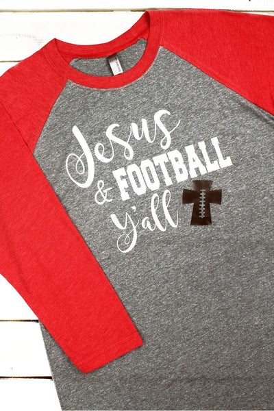 Jesus & Football Y'all Tri-Blend Unisex 3/4 Raglan #NL6051 *Choose Your Colors (Wholesale Pricing N/A) (PLEASE ALLOW 3-5 BUSINESS DAYS. EXPEDITED SHIPPING N/A) - Wholesale Accessory Market