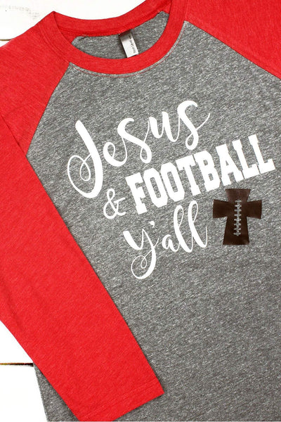 Jesus & Football Y'all Tri-Blend Unisex 3/4 Raglan #NL6051 *Choose Your Colors (Wholesale Pricing N/A) (PLEASE ALLOW 3-5 BUSINESS DAYS. EXPEDITED SHIPPING N/A)