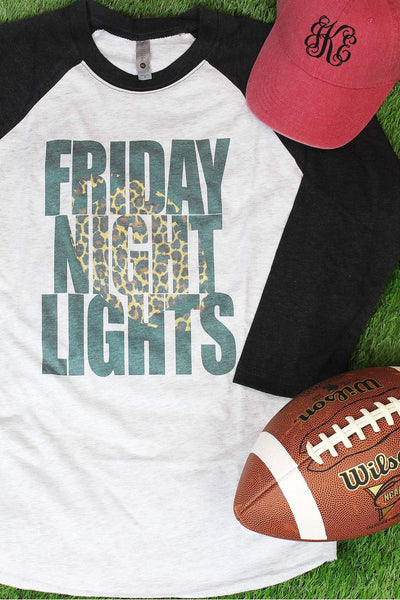Leopard Friday Night Lights Tri-Blend Unisex 3/4 Raglan