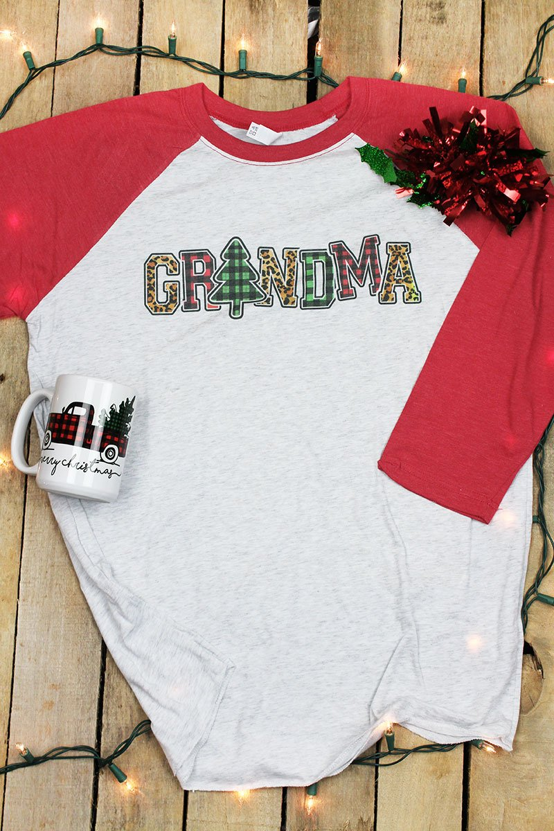 Plaid Christmas Grandma Tri-Blend Unisex 3/4 Raglan