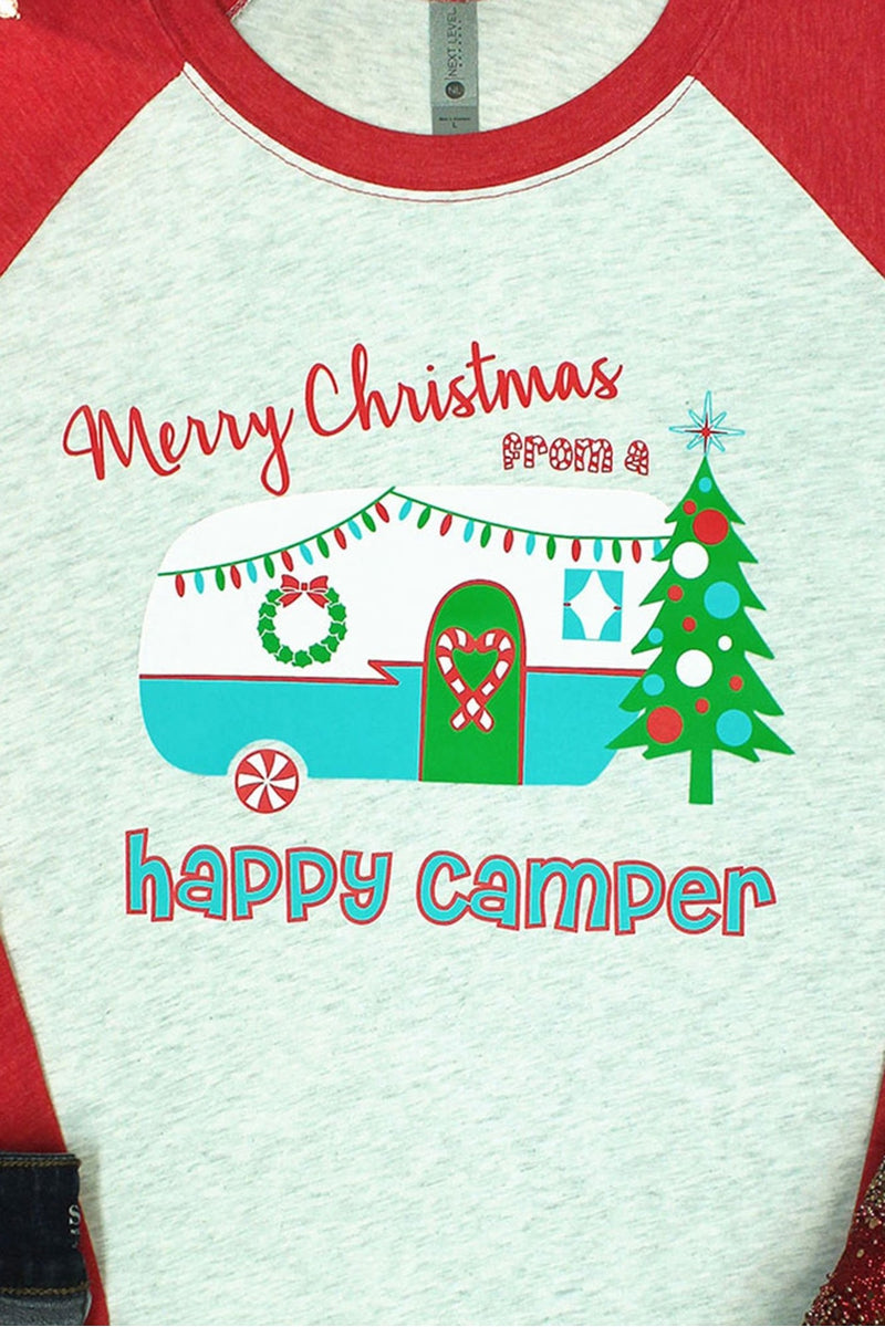 Happy Camper Christmas Tri-Blend Unisex 3/4 Raglan