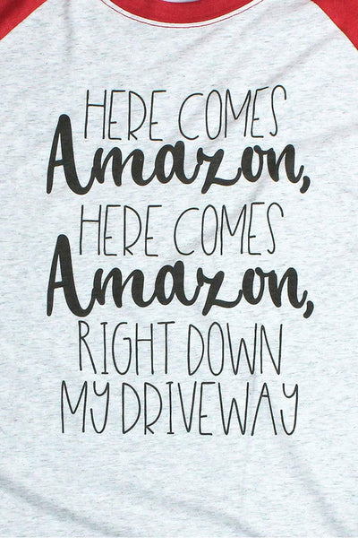 Here Comes Amazon Tri-Blend Unisex 3/4 Raglan
