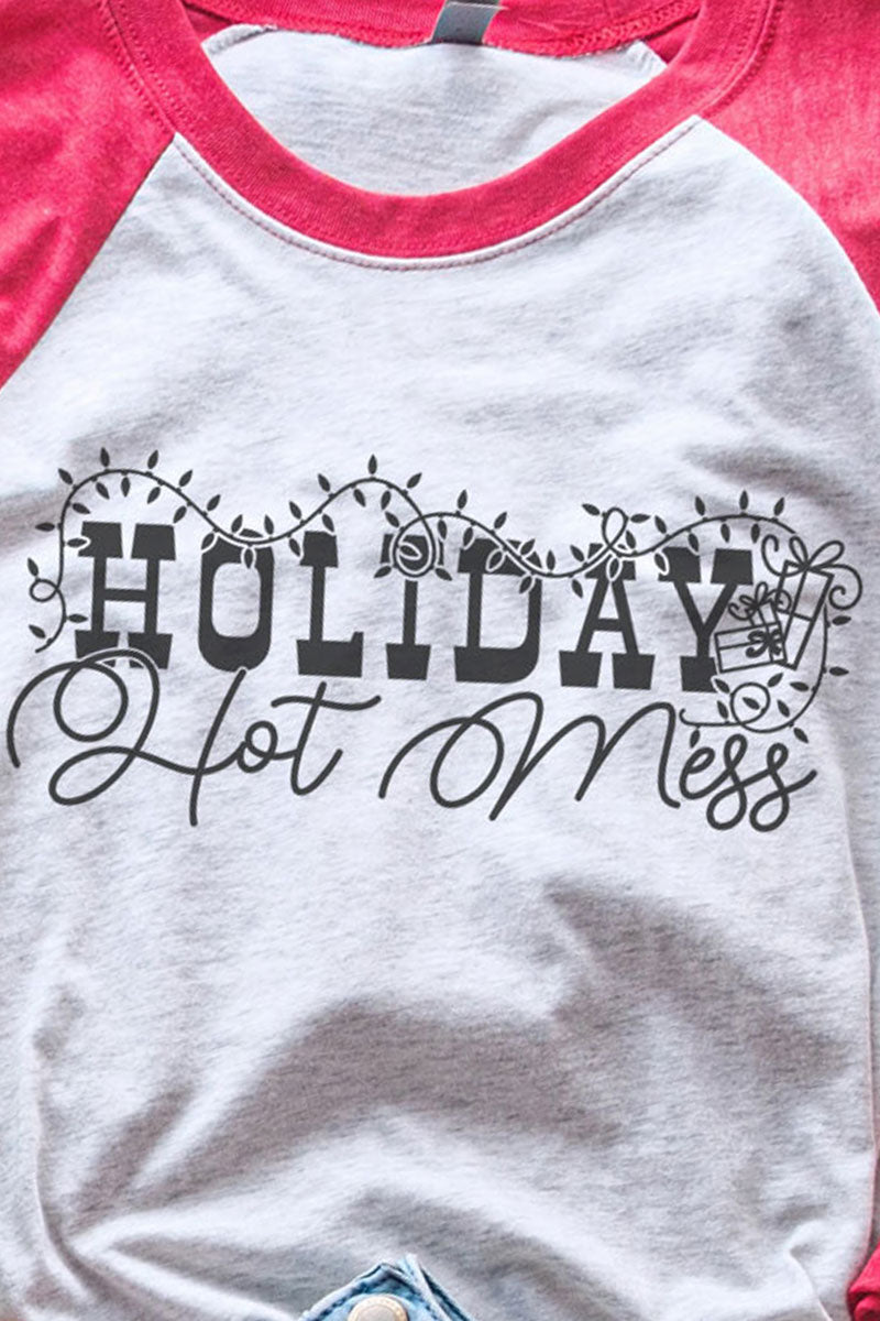 Holiday Hot Mess Tri-Blend Unisex 3/4 Raglan