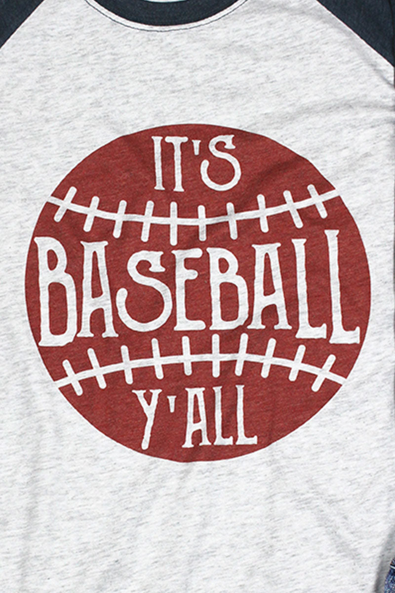 It's Baseball Y'all Tri-Blend Unisex 3/4 Raglan