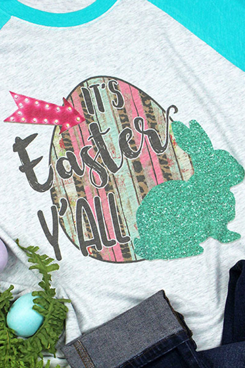 It's Easter Y'all Tri-Blend Unisex 3/4 Raglan