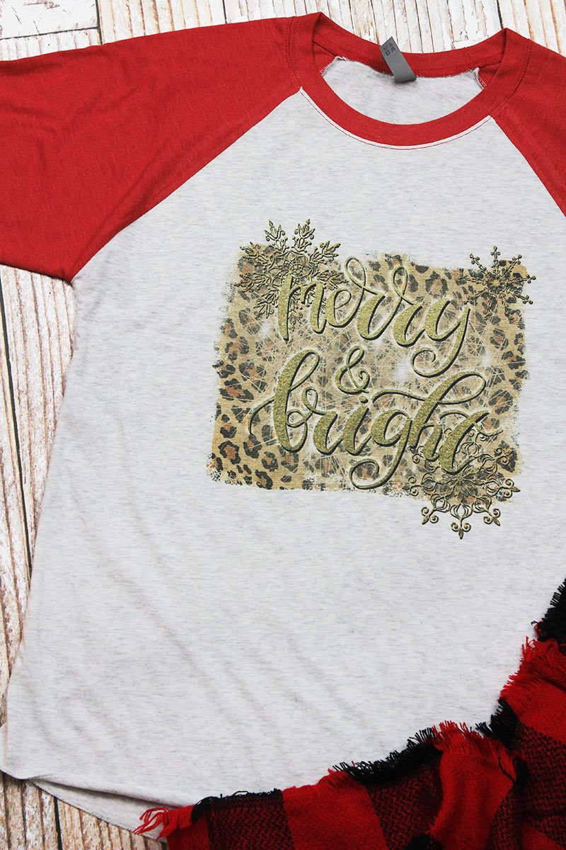 Merry And Bright Leopard Tri-Blend Unisex 3/4 Raglan