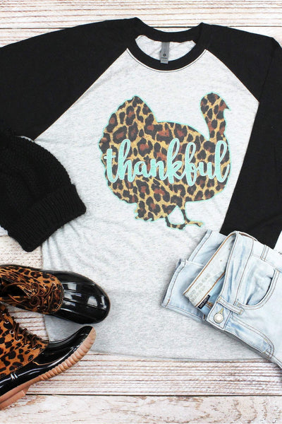 Thankful Leopard Turkey Tri-Blend Unisex 3/4 Raglan