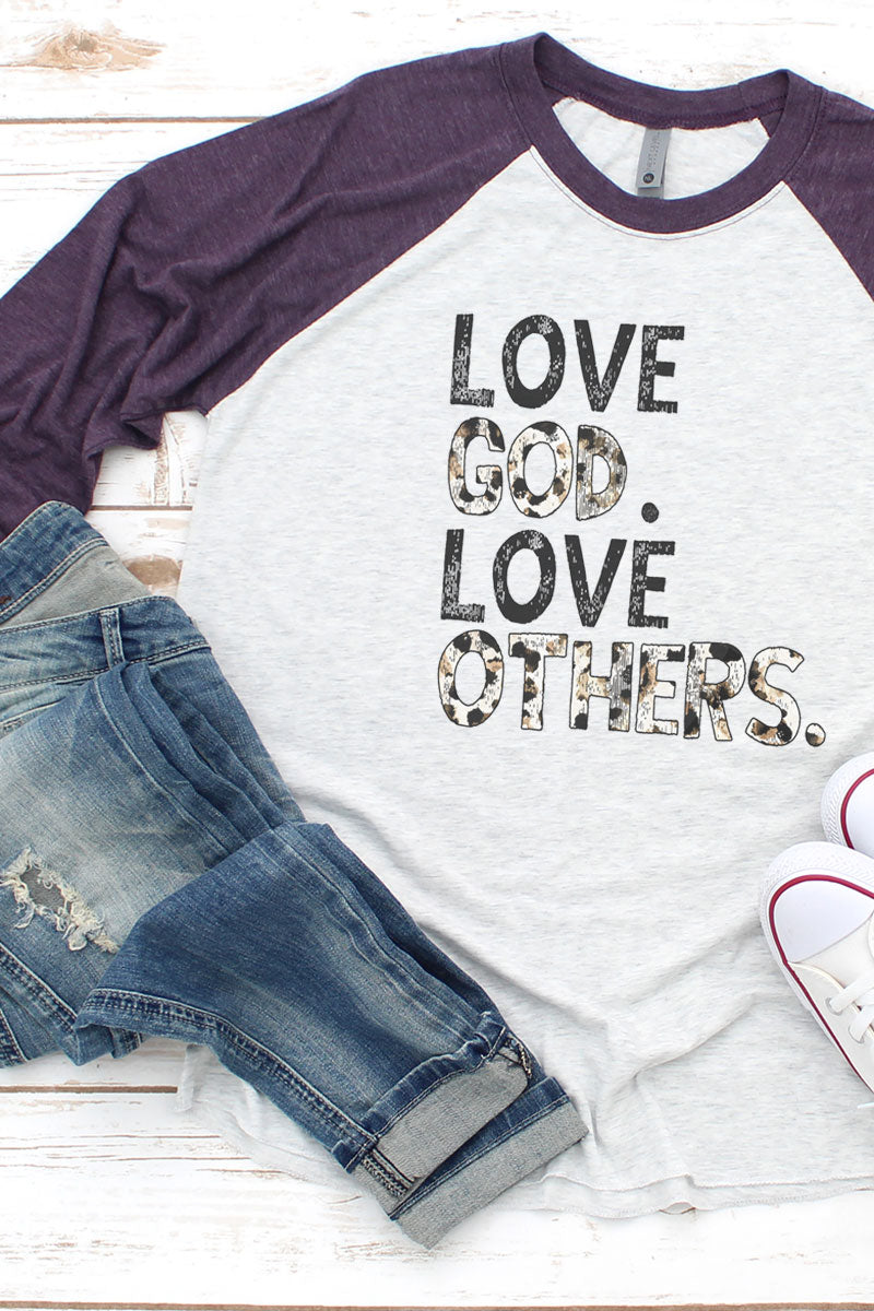 Love God Love Others Tri-Blend Unisex 3/4 Raglan