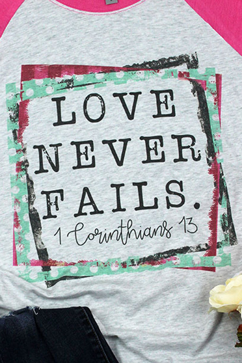 Love Never Fails Tri-Blend Unisex 3/4 Raglan