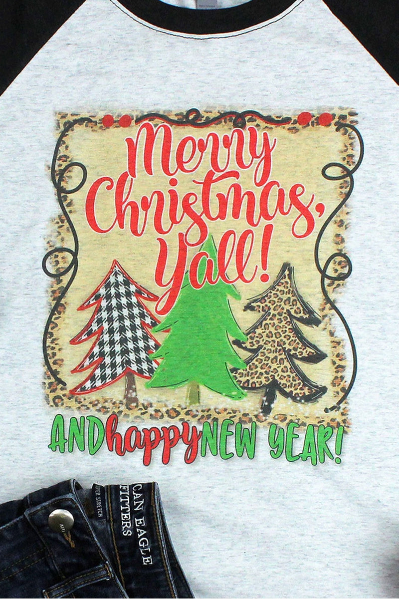 Merry Christmas Yall Tree Trio Tri-Blend Unisex 3/4 Raglan