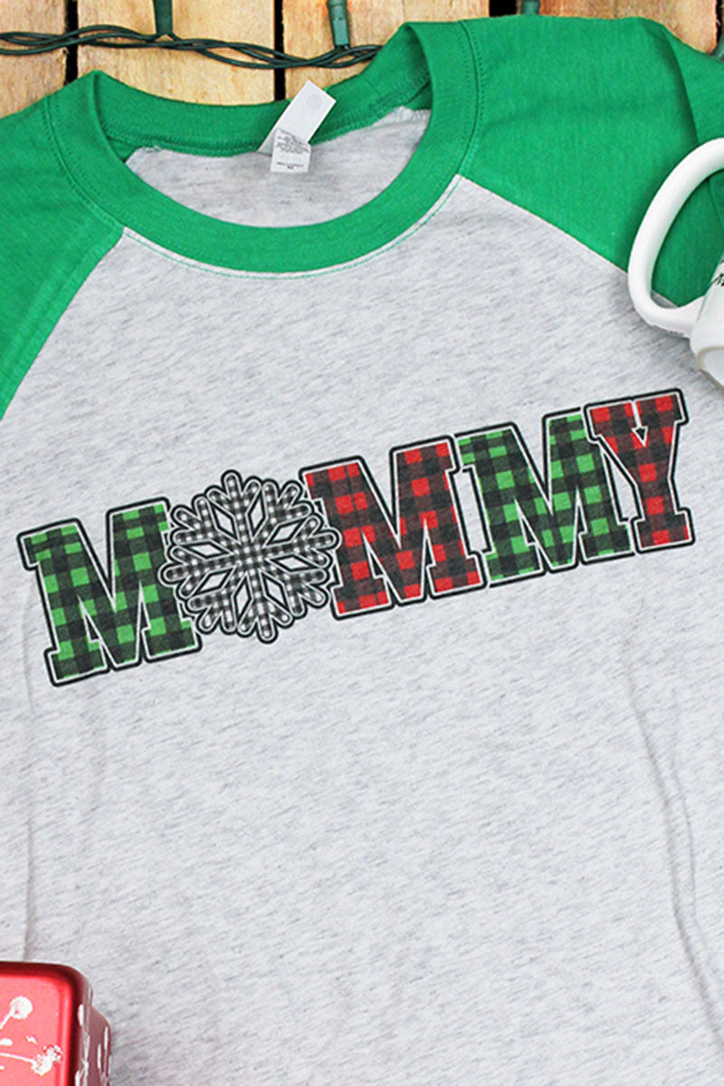Plaid Snowflake Mommy Tri-Blend Unisex 3/4 Raglan