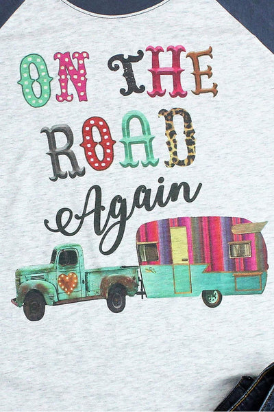 On The Road Again Tri-Blend Unisex 3/4 Raglan