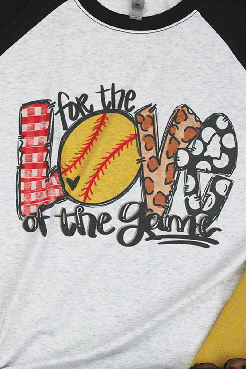 Softball Love Of The Game Leopard Tri-Blend Unisex 3/4 Raglan