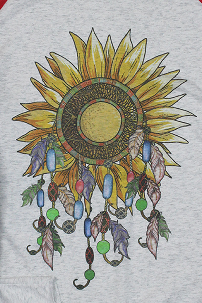 Dreamcatcher Sunflower Tri-Blend Unisex 3/4 Raglan