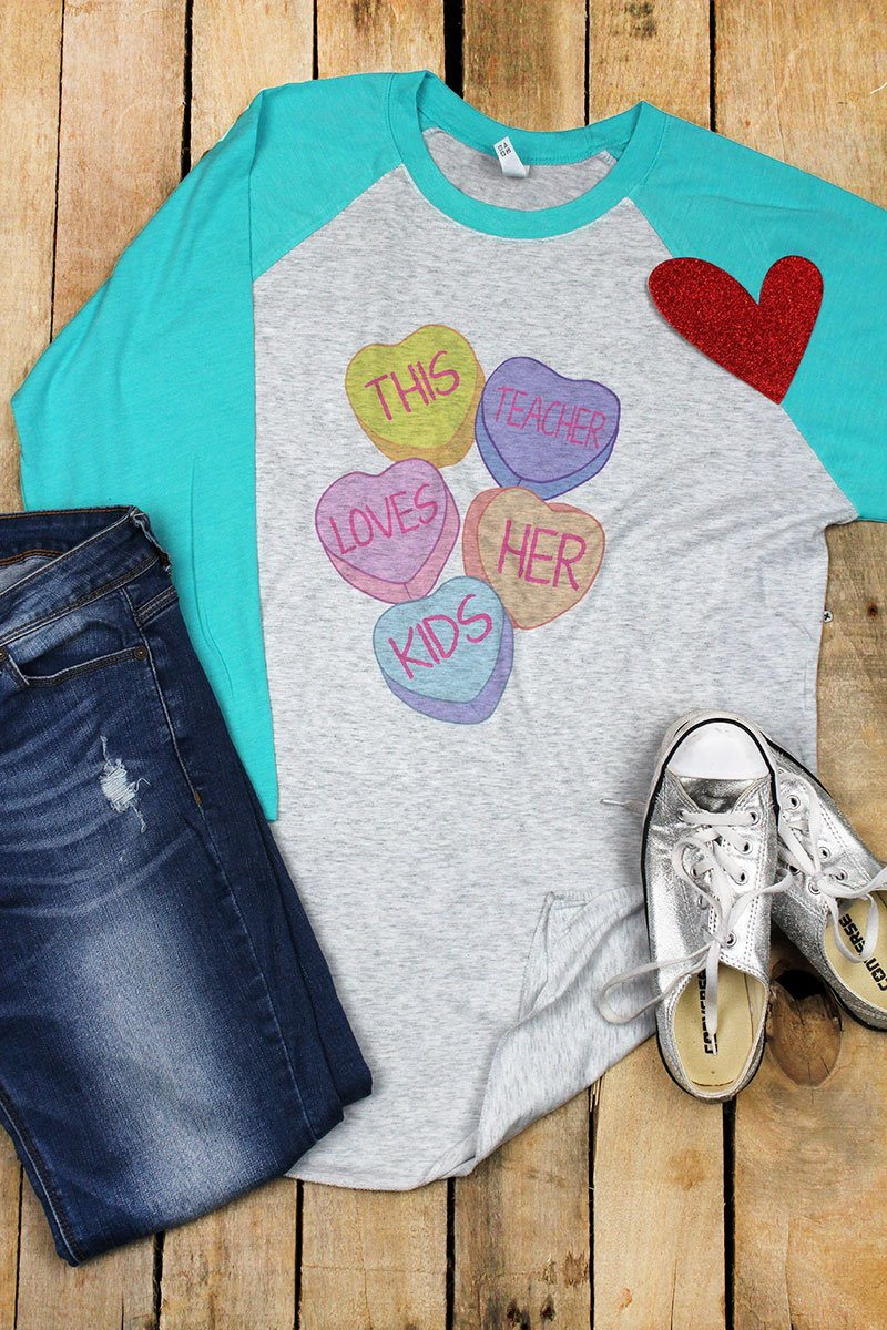 This Teacher Loves Her Kids Tri-Blend Unisex 3/4 Raglan