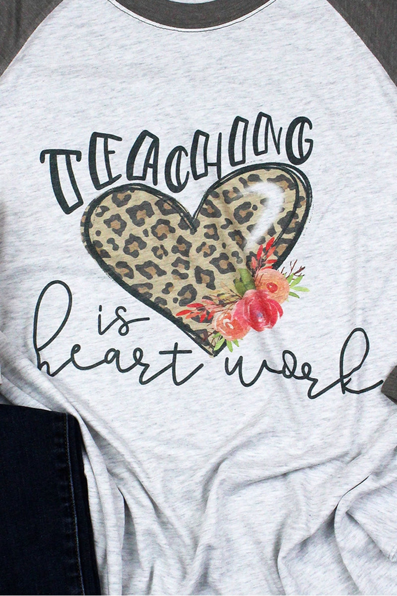 Teaching Is Heart Work Tri-Blend Unisex 3/4 Raglan