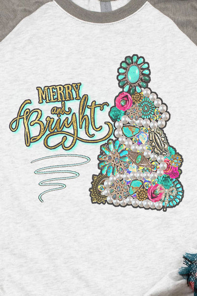 Turquoise Tree Merry and Bright Tri-Blend Unisex 3/4 Raglan