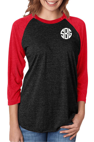 Tri-Blend Unisex 3/4 Raglan, Vintage Red/Vintage Black #NL6051 *Personalize It! (PLEASE ALLOW 3-5 BUSINESS DAYS. EXPEDITED SHIPPING N/A)
