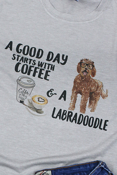 Coffee And Labradoodle Poly/Cotton Tee