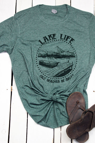 Lake Life Beaches Be Salty Poly/Cotton Tee