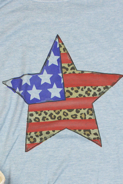 Patriotic Leopard Star Poly/Cotton Tee