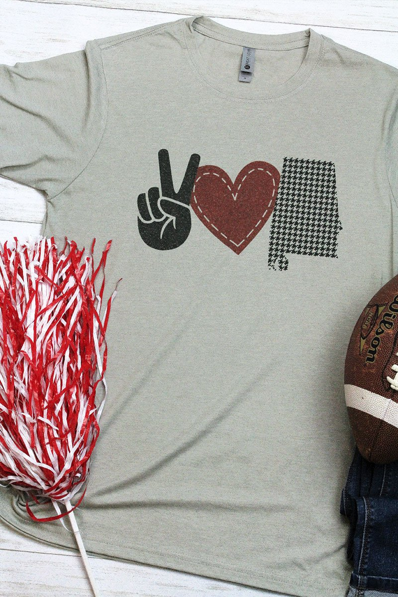 Peace Love Alabama Football Poly/Cotton Tee