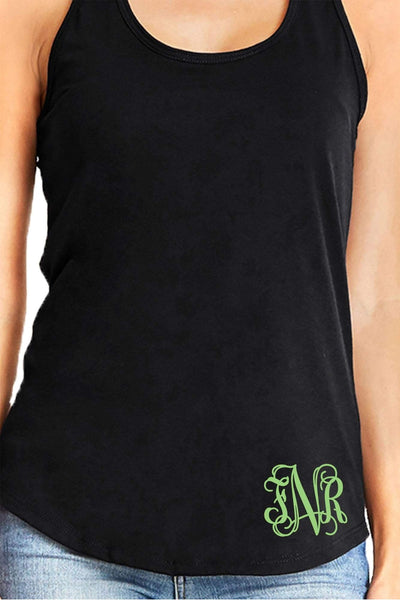 Next Level Womens Gathered Racerback Tank, Black *Personalize It!