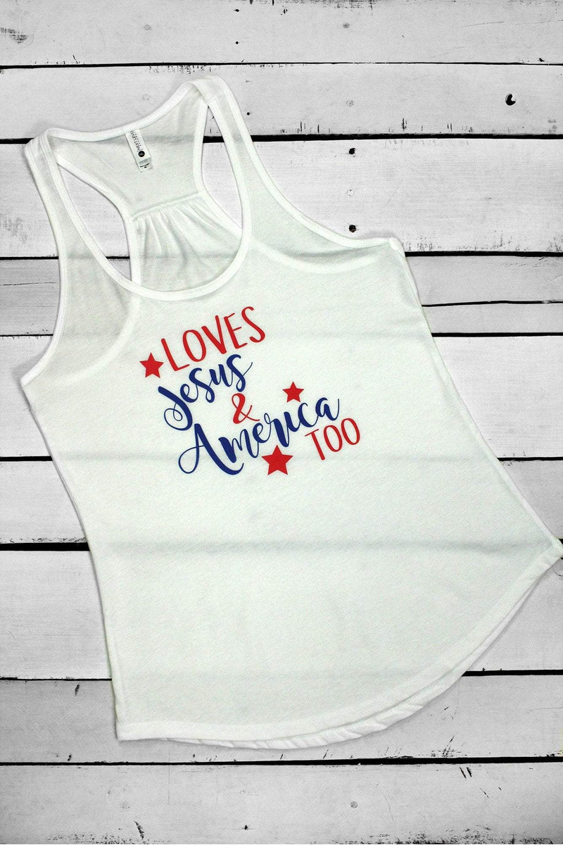 Loves Jesus & America Too Womens Gathered Racerback Tank