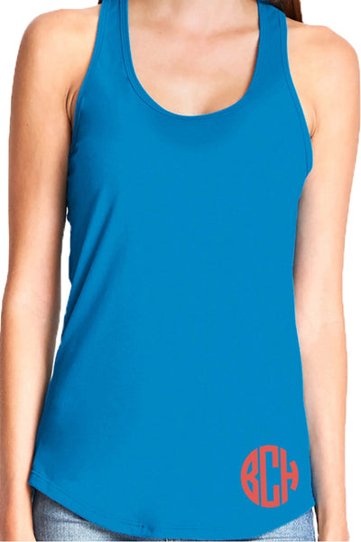 Next Level Womens Gathered Racerback Tank, Turquoise *Personalize It!