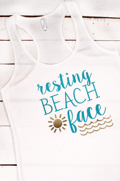 Resting Beach Face Racerback Terry Tank #6933 (PLEASE ALLOW 3-5 BUSINESS DAYS. EXPEDITED SHIPPING N/A)