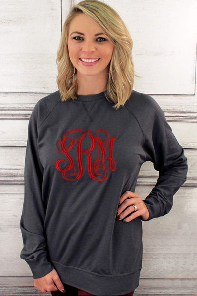 Large Monogram Unisex French Terry Raglan Crew #NL9000 *Personalize It (Wholesale Pricing N/A) (PLEASE ALLOW 3-5 BUSINESS DAYS. EXPEDITED SHIPPING N/A) - Wholesale Accessory Market