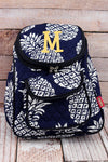 NGIL Pineapple Paradise Navy Quilted Petite Backpack