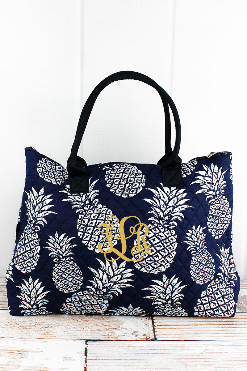 NGIL Pineapple Paradise Navy Quilted Large Shoulder Tote