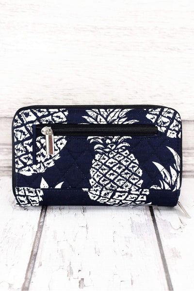 Pineapple Paradise Navy Quilted Organizer Clutch Wallet #NPL517-NAVY
