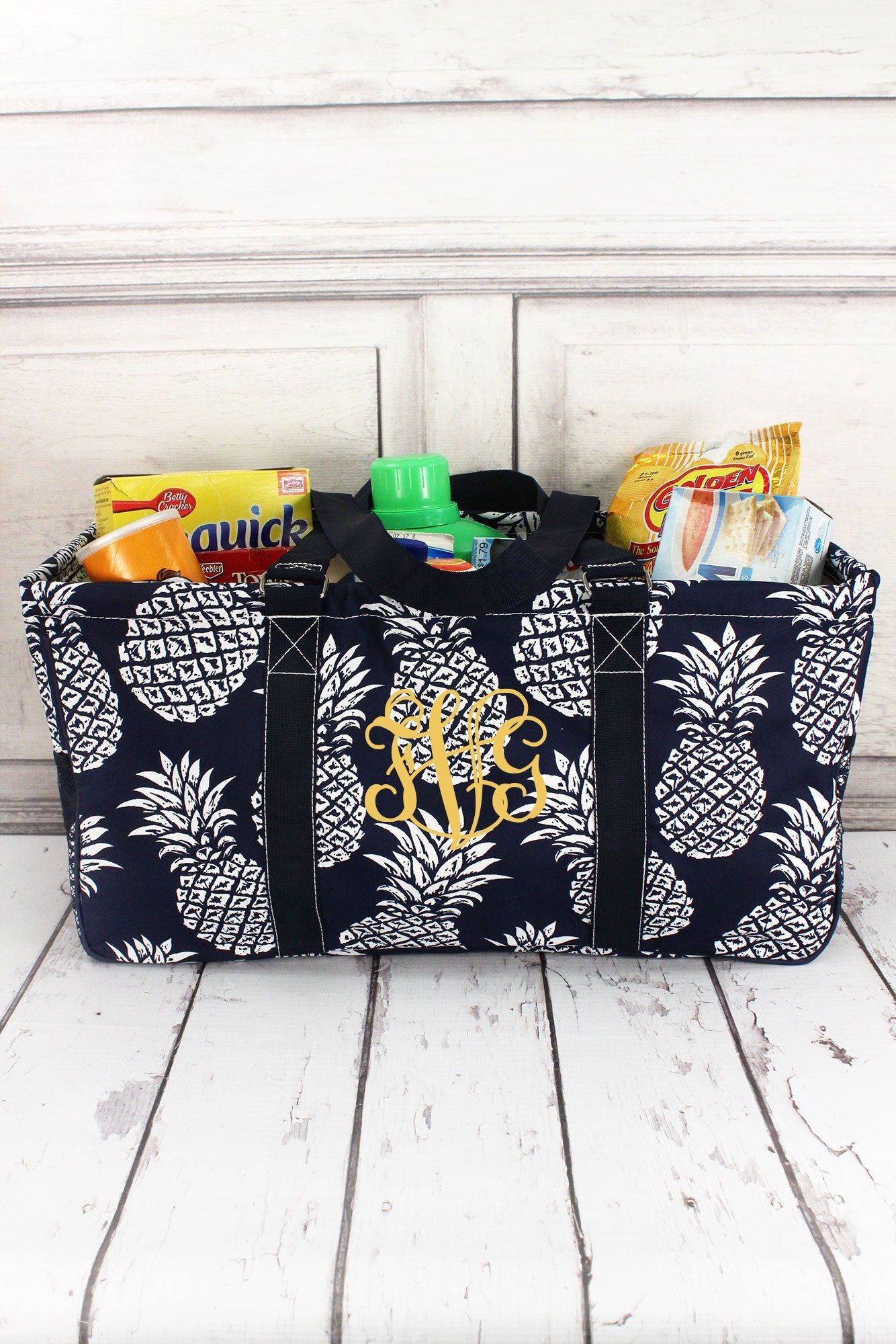 Pineapple Paradise Navy Collapsible Haul-It-All Basket with Mesh Pockets #NPL603-NAVY