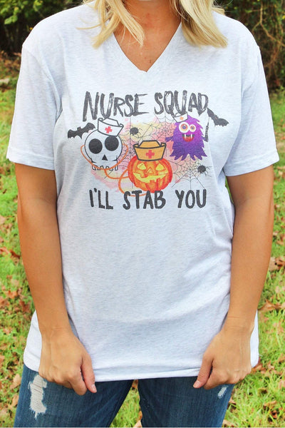 Nurse Squad Halloween Tri-Blend V Neck Tee